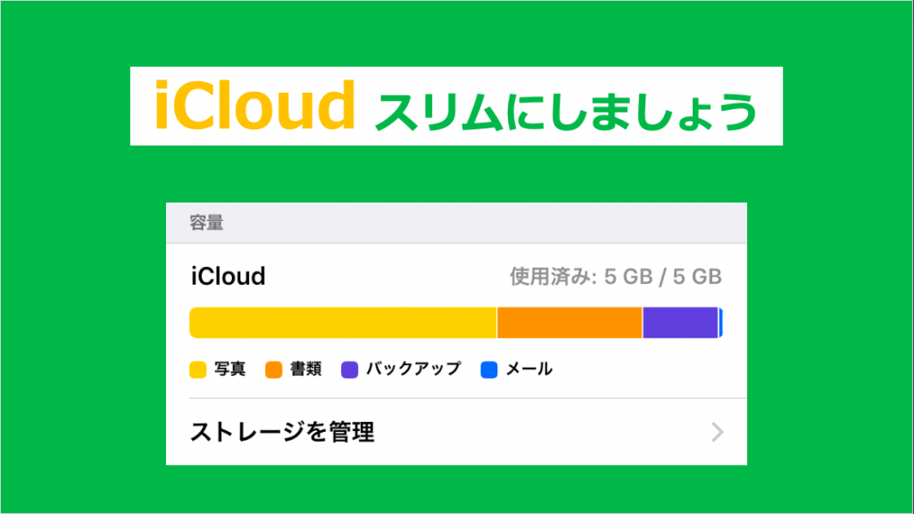 iCloudの空き容量を増やし
